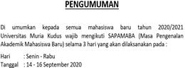 PENGUMUMAN PELAKSANAAN SAPAMABA 2020/2021 UNIVERSITAS MURIA KUDUS